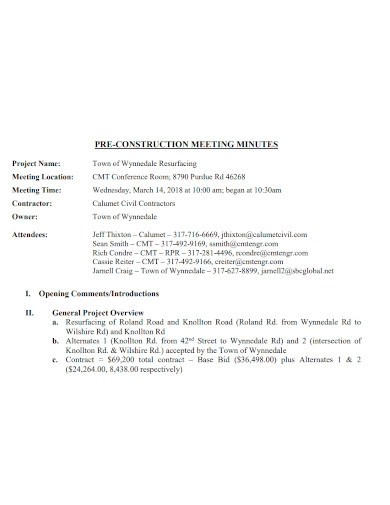 construction meeting minutes format