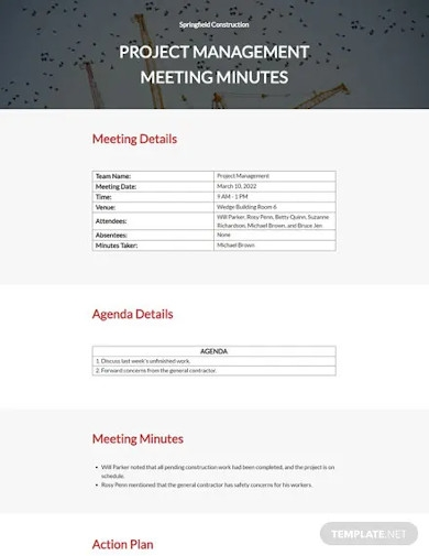 construction meeting minutes sample