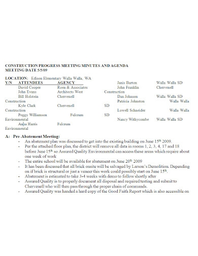 construction meeting minutes and agenda