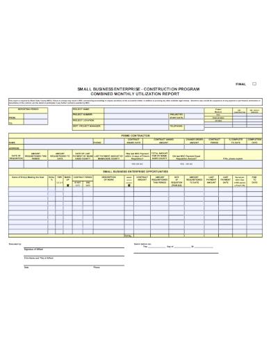construction program business enterprise report