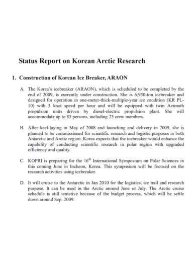 construction research status report