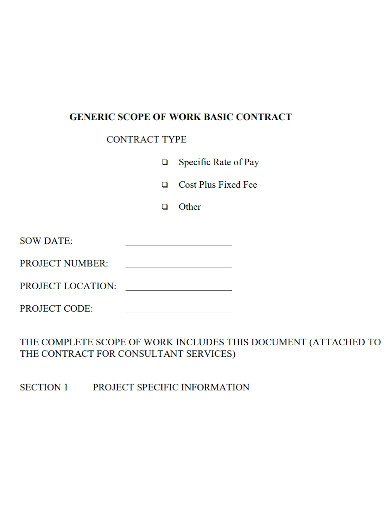 contract scope of work sample