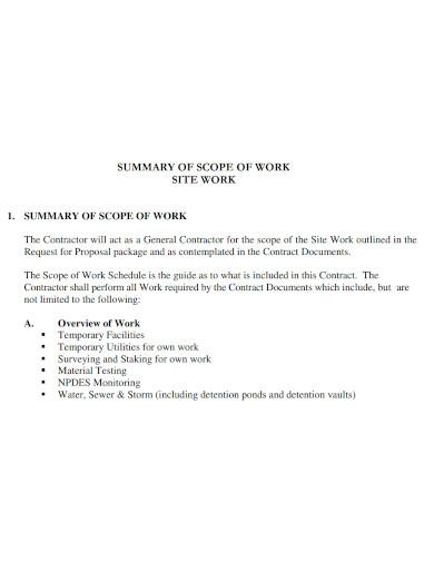 contract scope of work summary
