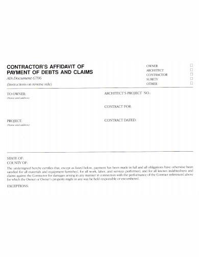 contractors affidavit of payment