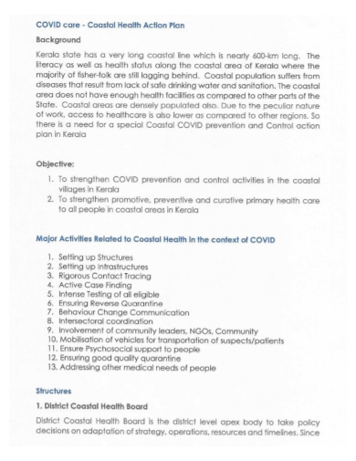 covid health care action plan