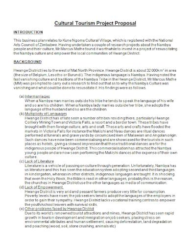 cultural tourism project proposal