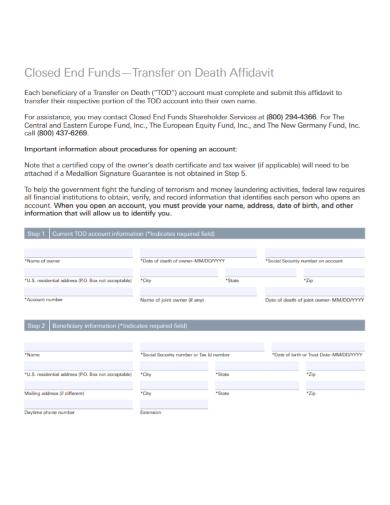 death affidavit of ownership close end use