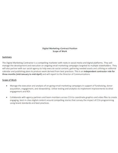 digital marketing scope of work