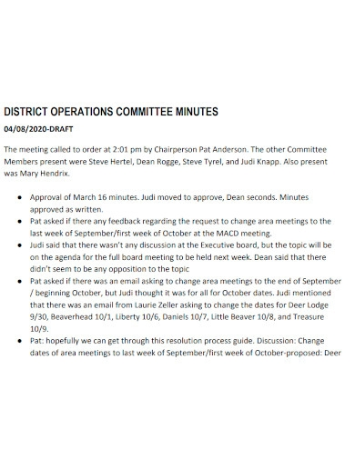 district operations meeting minutes