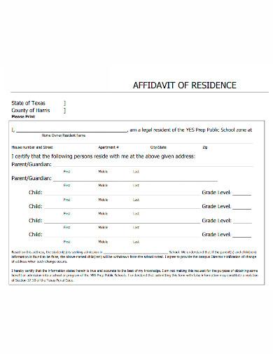 editable affidavit of residence