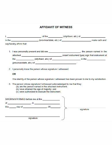 editable affidavit of witness