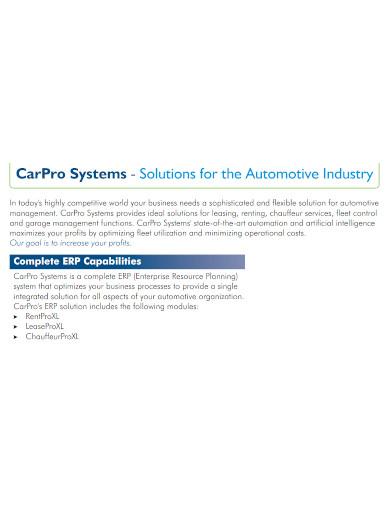 editable automotive company profile