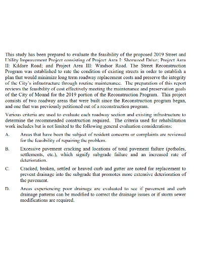 editable construction feasibility report