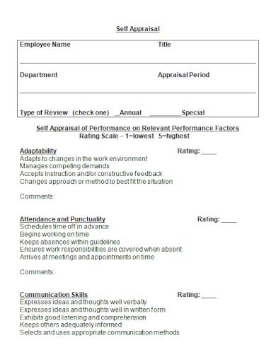 editable employee self appraisal