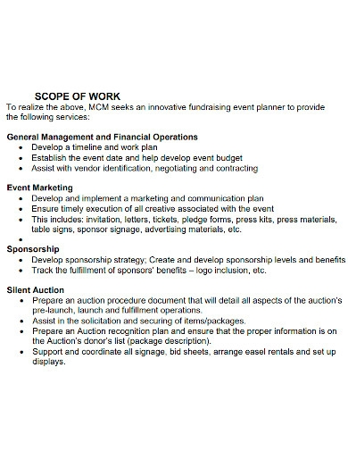 editable event management scope of work