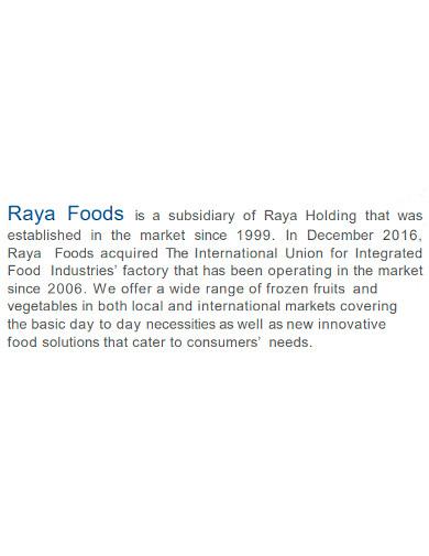 editable food company profile