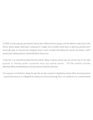 editable interior company profile