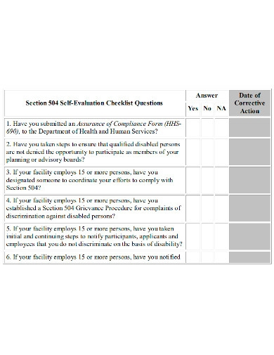 editable self evaluation checklist