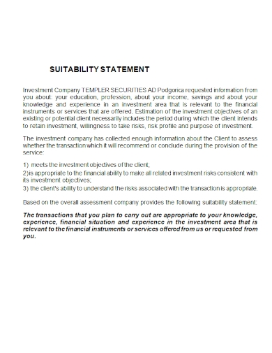 editable suitability statement