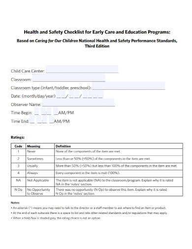 education program health and safety checklist