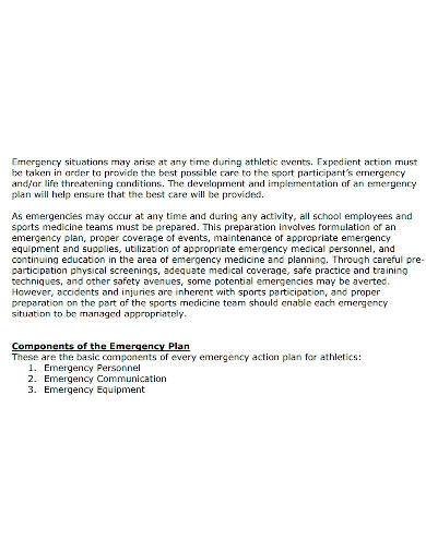 emergency sports action plan