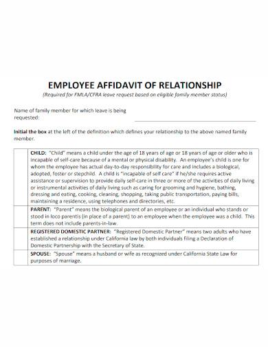 employee affidavit of relationship