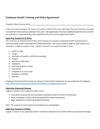 employee health training agreement