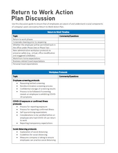 employee return to work action plan
