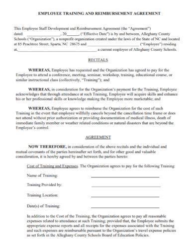 employee staff training agreement