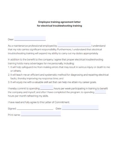 employee training agreement letter