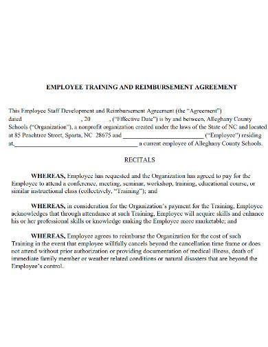 employee training reimbursement agreement