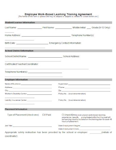 employee work based training agreement