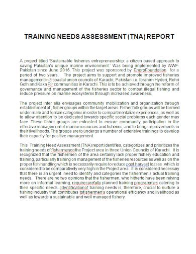 entrepreneur training needs assessment report
