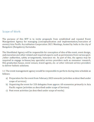 event management agency scope of work