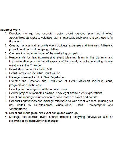 event management scope of work sample