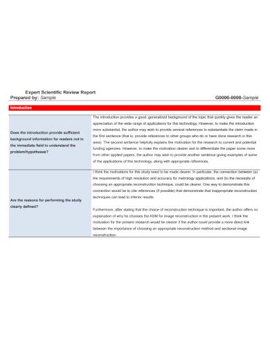 expert scientific review report