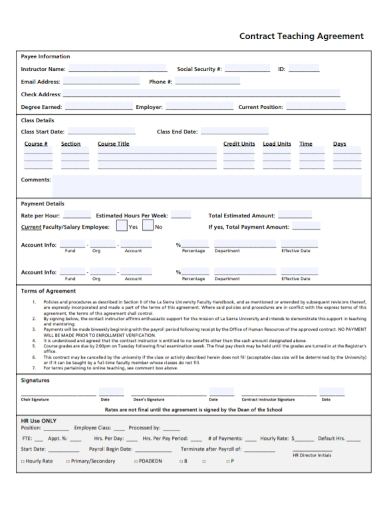 faculty contract teaching agreement