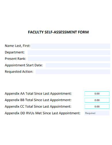 faculty self assessment sample