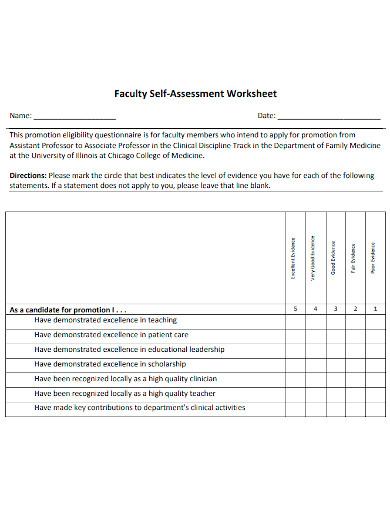 faculty self assessment worksheet