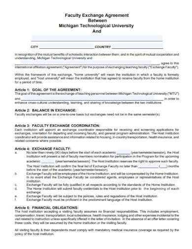 faculty teaching exchange agreement
