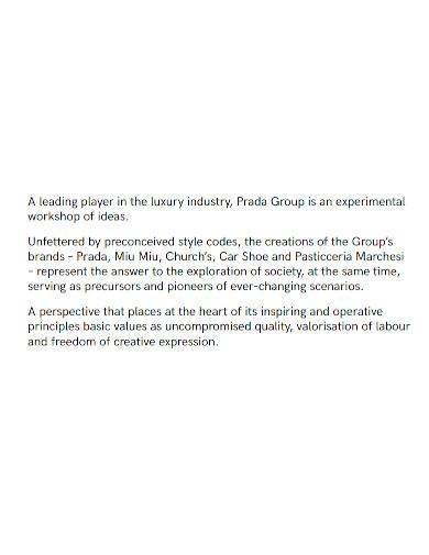 fashion company profile sample