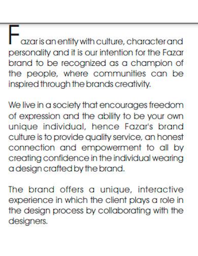 fashion designer company profile