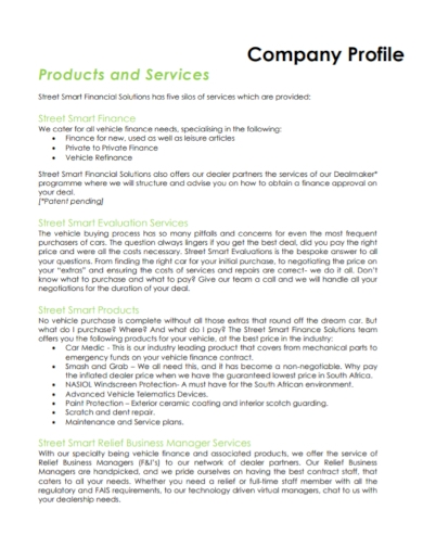 finance evaluation company profile