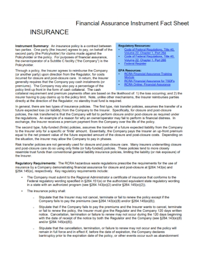 financial assurance fact sheet