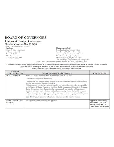financial budget meeting minutes