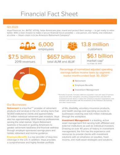 financial business fact sheet