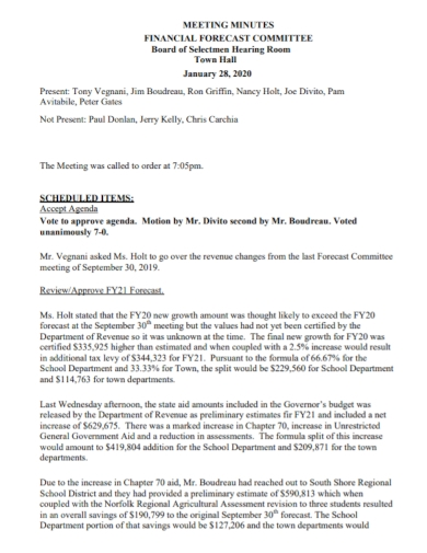 financial forecast meeting minutes