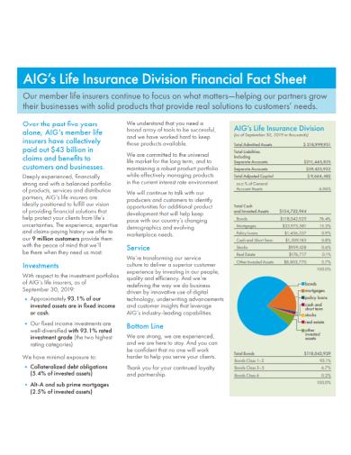 financial insurance fact sheet