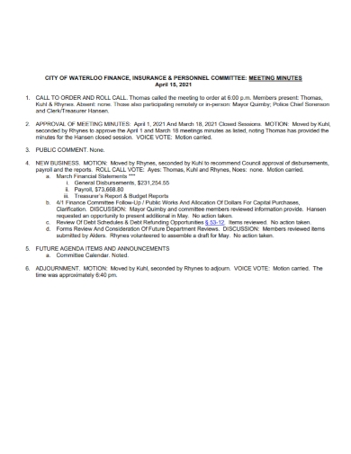 financial insurance meeting minutes