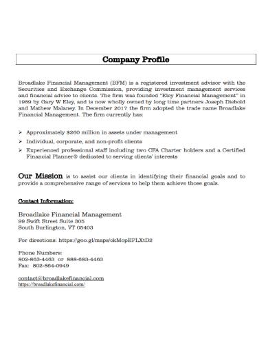 financial management company profile